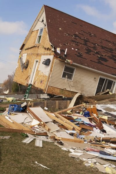 Home Damaged from an F2 Tornado in Lapeer, MI.