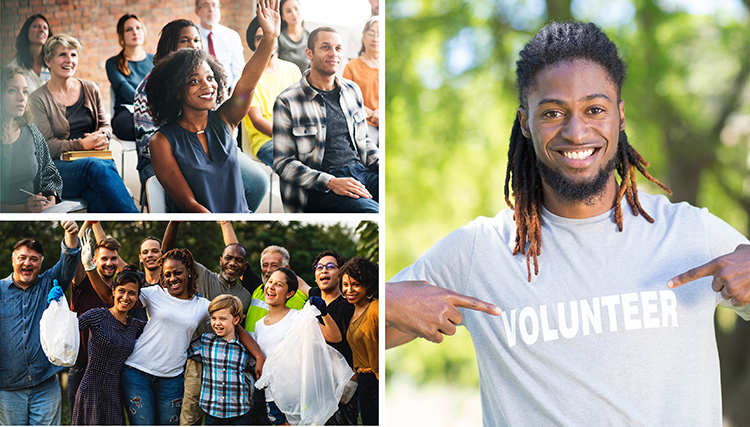 A group of professionals sit in a group presentation, one woman raises her hand to volunteer. Image 2: African American college student smiles while pointing at his volunteer shirt. Image 3: A group of diverse volunteers pose for a picture after working in a community service project.