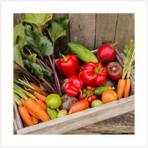 Crate of fresh picked garden produce