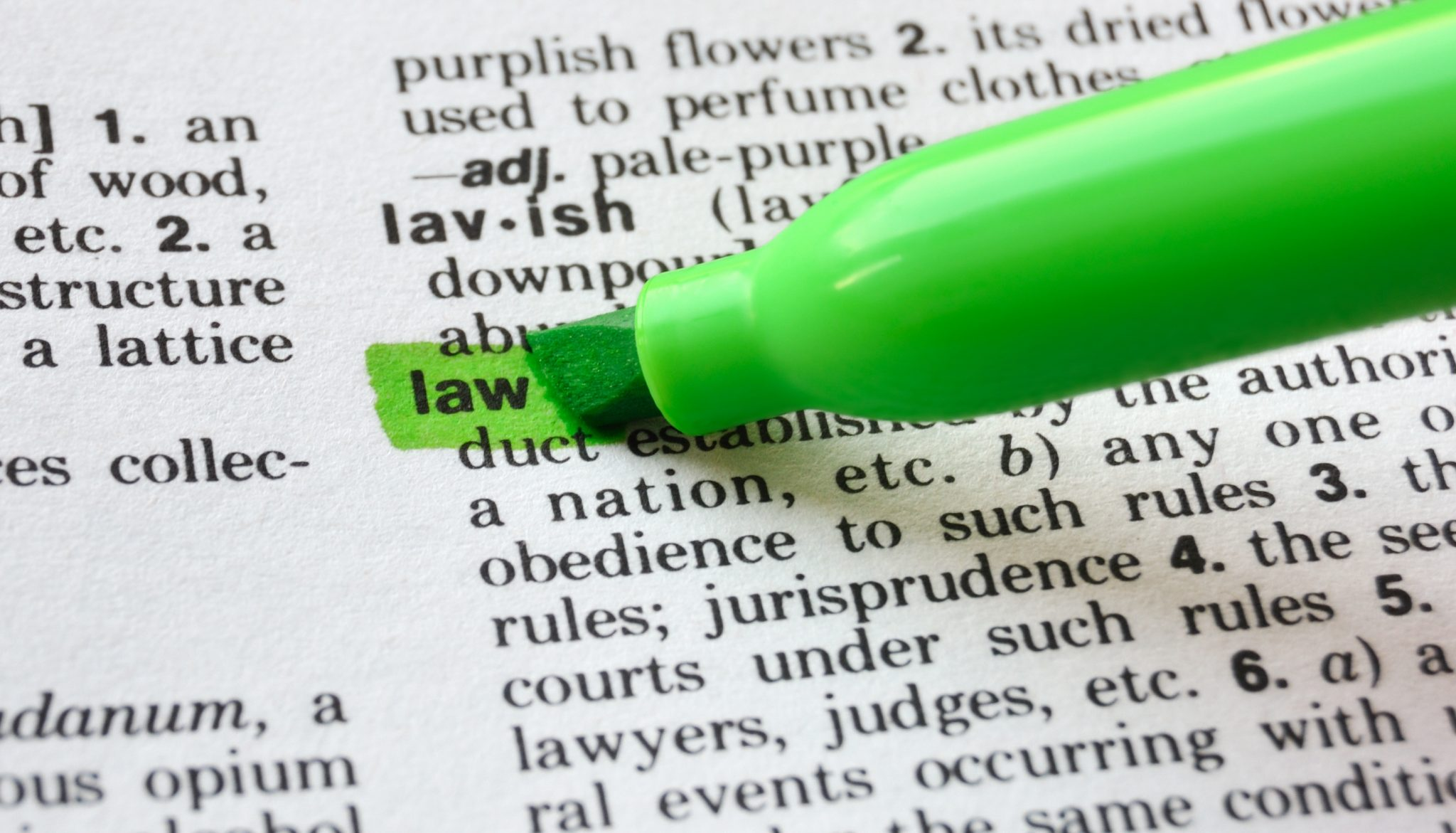 The word law highlighted in a dictionary.