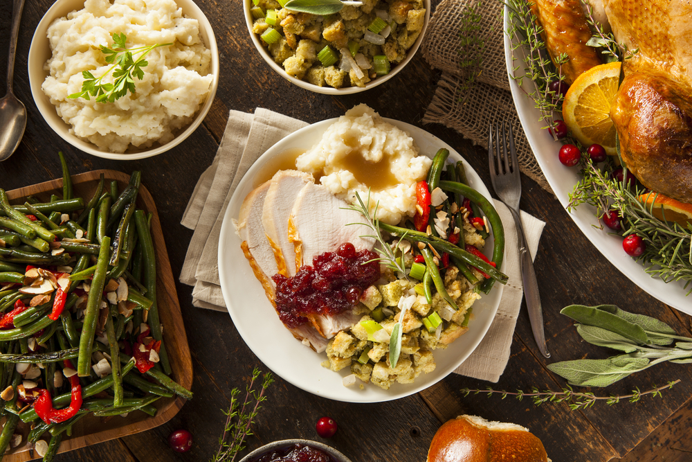 A table setting of a Thanksgiving meal.