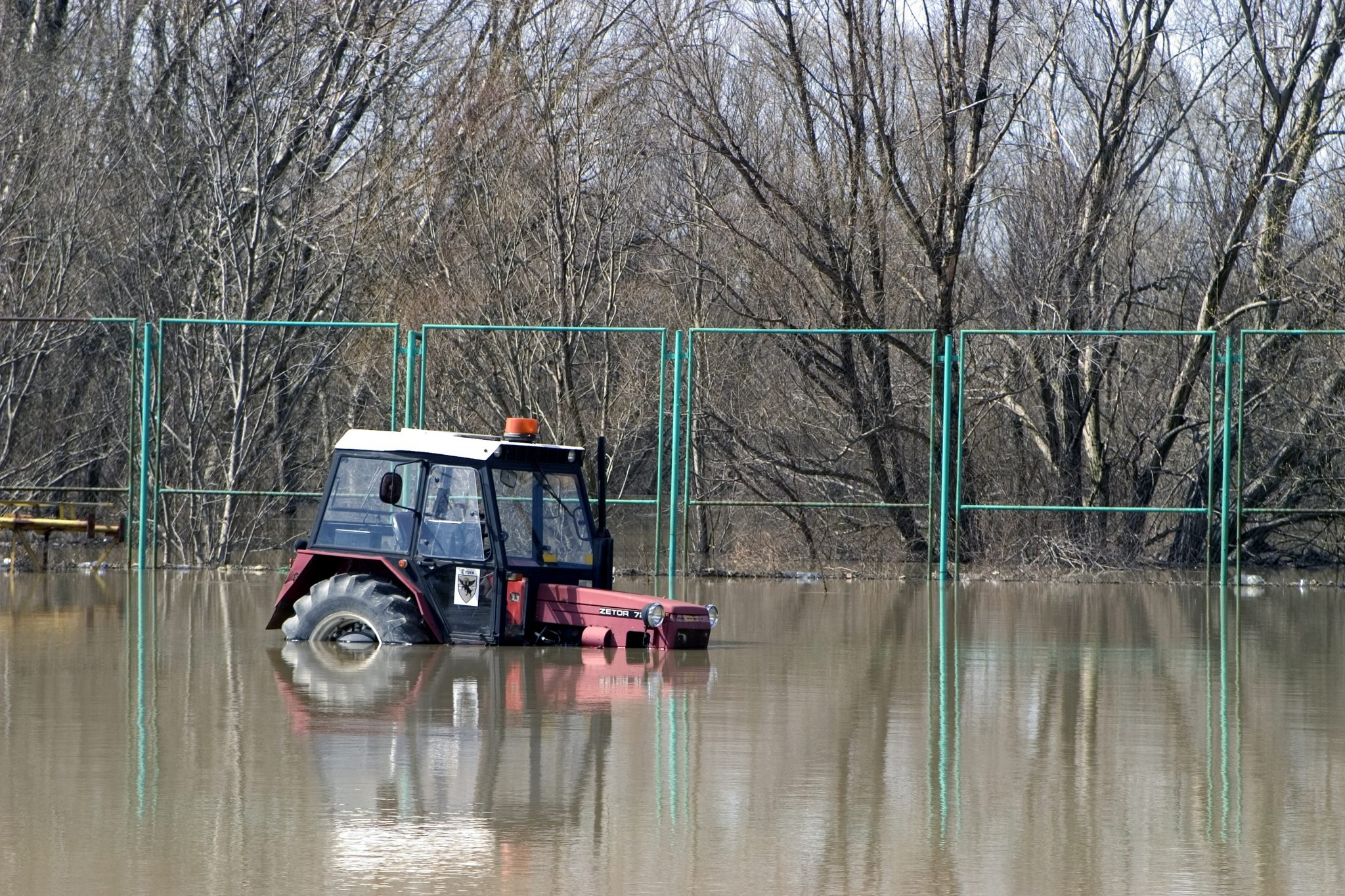 tractor in flood water