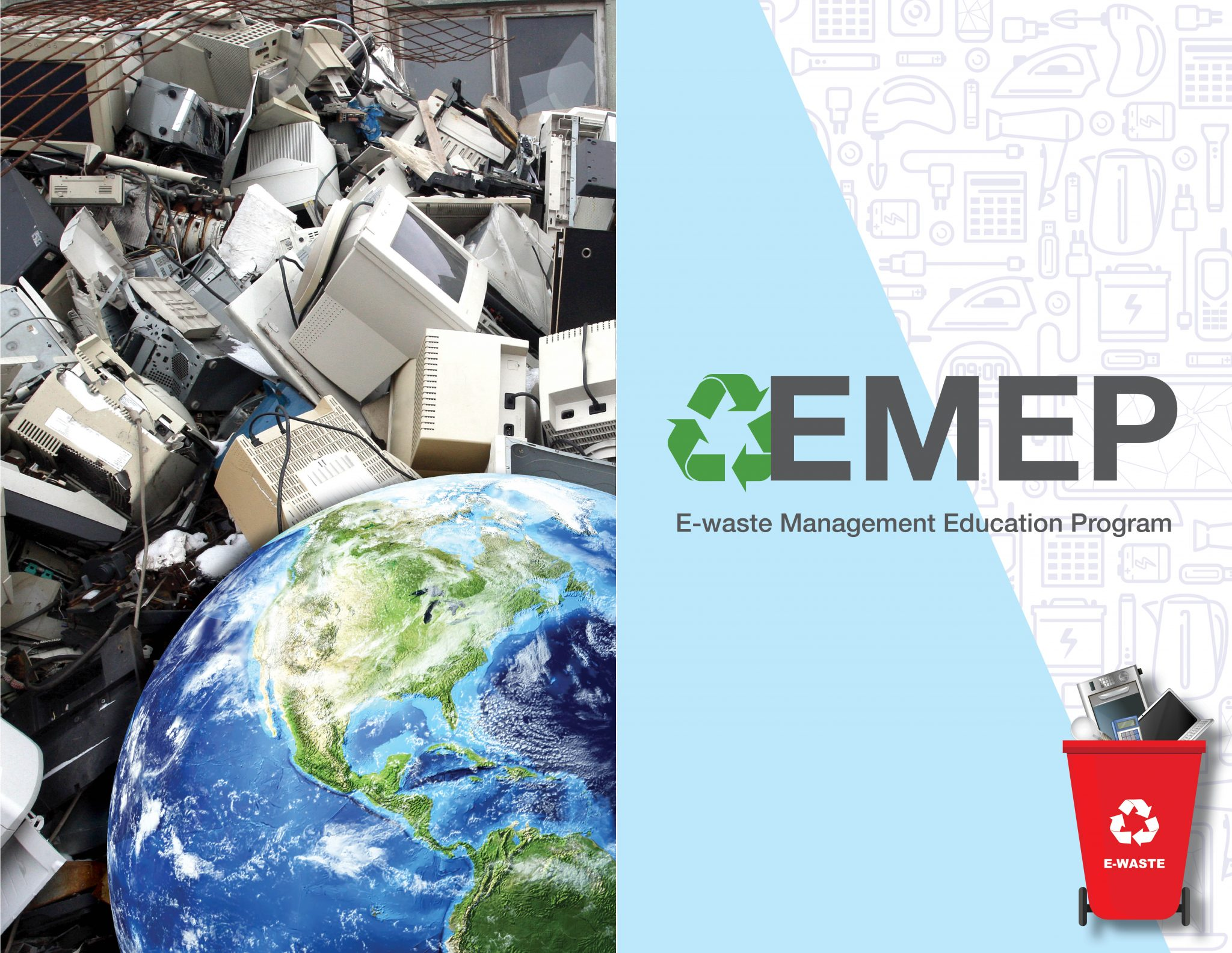 A pile of thrown out electronics ready to be recycled with an image of the Earth in front of it.