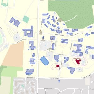 Alabama A&M University Campus map with Dawson Building and Guard Shack circled.