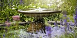 Fountain in garden pool surrounded by flowers