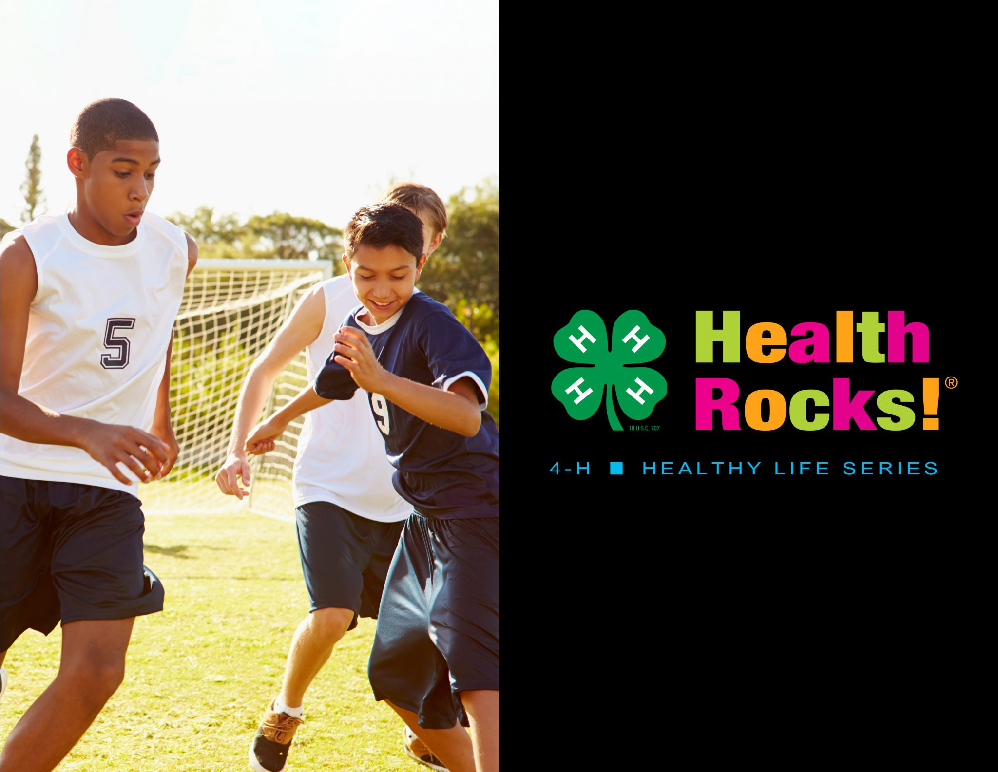 a group of middle school youth play team soccer with official 4-H Health Rocks!® logo.