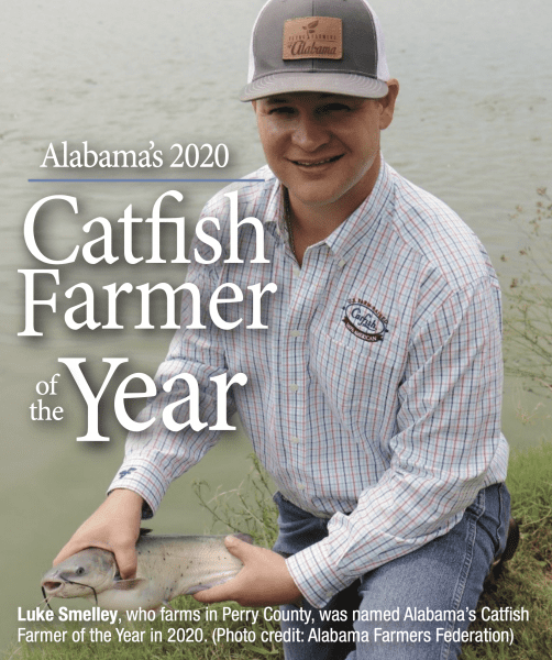 Luke Smelley, who farms in Perry County, was named Alabama's Catfish Farmer of the Year in 2020. (Photo credit: Alabama Farmers Federation)
