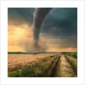 Tornado in an open field