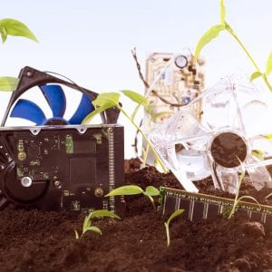 E waste concept, bunch of computer parts laying in the ground