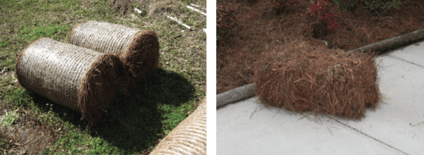 Figure 5. Pine straw is often baled into round (left) or square (right) bales. (Photo credits: Becky Barlow, photo of round bales, Janice Dyer, photo of square bale.)