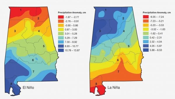 Figure 2. Precipitation anomaly in respect to historic averages during winter months (January through March) of El Niñoand La Niña in Alabama.(Note: The numbers in the figures denote climate divisions of Alabama.)