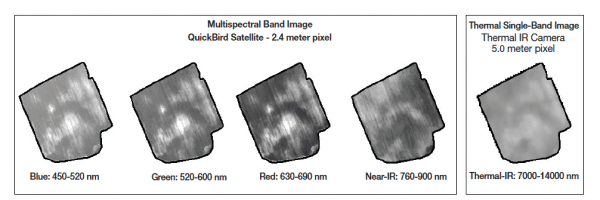 Spectral and spatial differences between images of two different remote sensors.