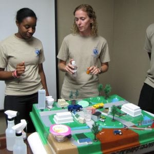 Participants work with a model that demonstrates water run-off.