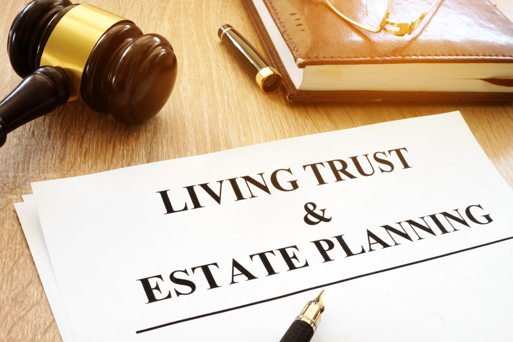Living trust document with a gavel.