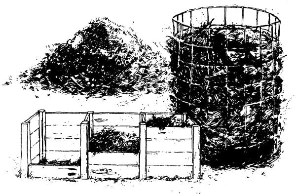 A compost pile, a composting cage made of concrete reinforcing wire, and a 3-bin composting unit.