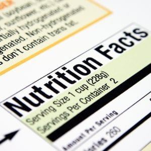 Close up of nutrition facts.