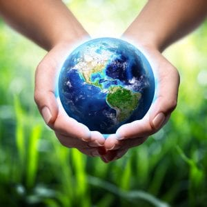 hands holding the globe with greenery in the background. Environmental protection idea.