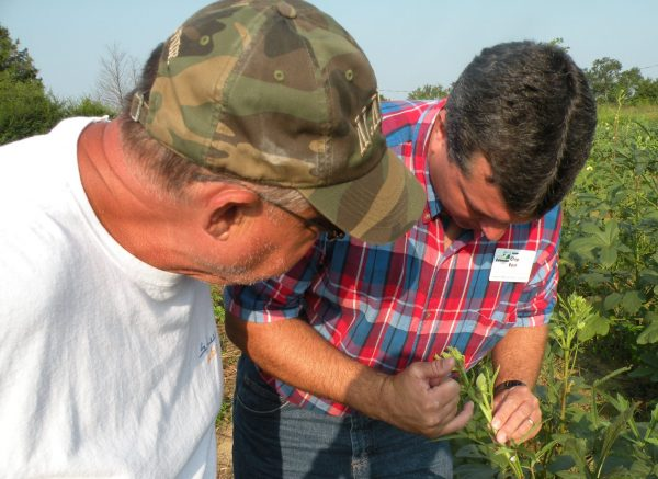 Chip East, Extension REA, talking with farmer