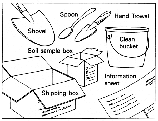 Figure 1. Supplies needed for taking home soil samples.