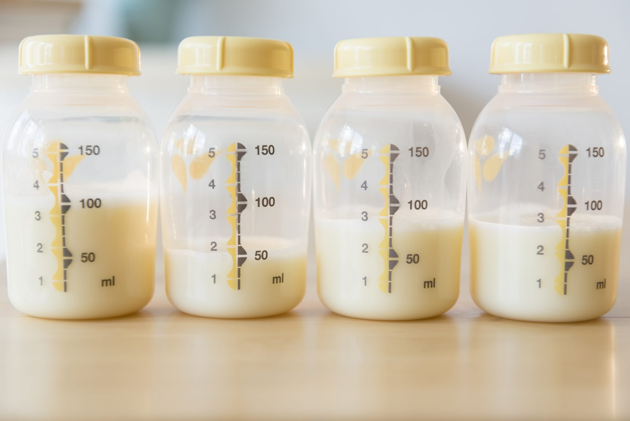 Bottles of breast milk