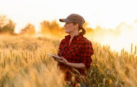 Woman farmer standing in a field with an iPad.