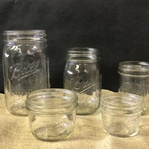 Jars used for canning.