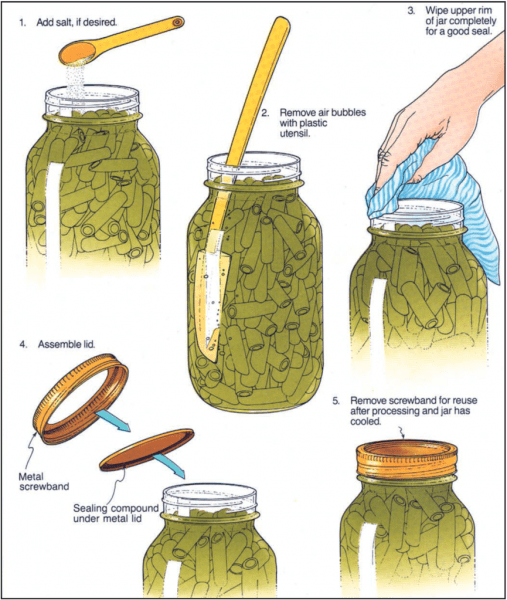Figure 2. Properly pack the jars. (Photo credit: Complete Guide to Home Canning, Guide 1, Principles of Home Canning. United States Department of Agriculture)