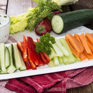 Fresh cut vegetables with vegetable dip