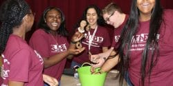 Group of students participating in the 2019 STEM Day.