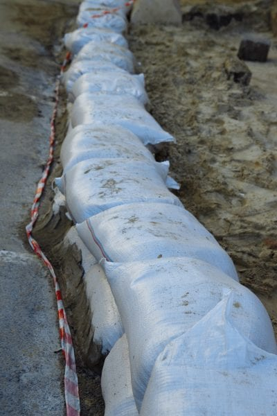 Sandbags to protect land from flooding