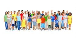 Large Group of Diverse Colorful Happy People