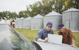 Farmers using laptop on truck on farm