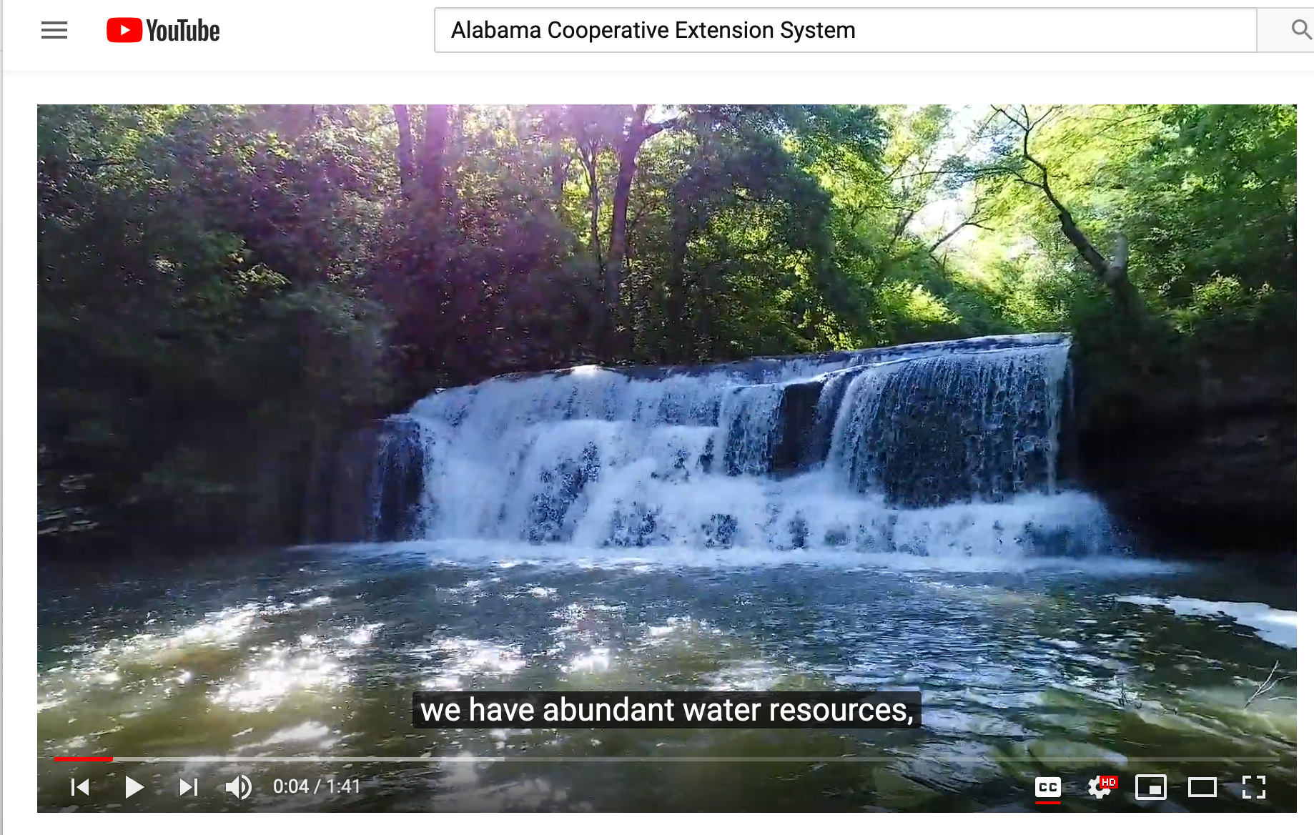 YouTube image of watershed video with closed captioning