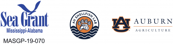 Sea Grant Mississippi-Alabama logo, AU Shellfish Lab logo, and the Auburn Agriculture logo