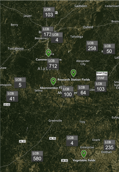 Statewide LCB distribution map.
