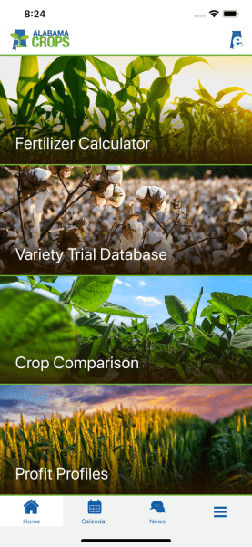 Alabama Crops app homepage