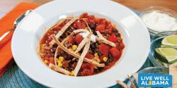 A bowl of taco soup.