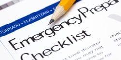 Emergency Preparedness Checklist with pencil.