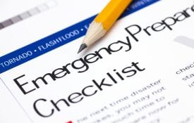 Emergency Preparedness Checklist with pencil.