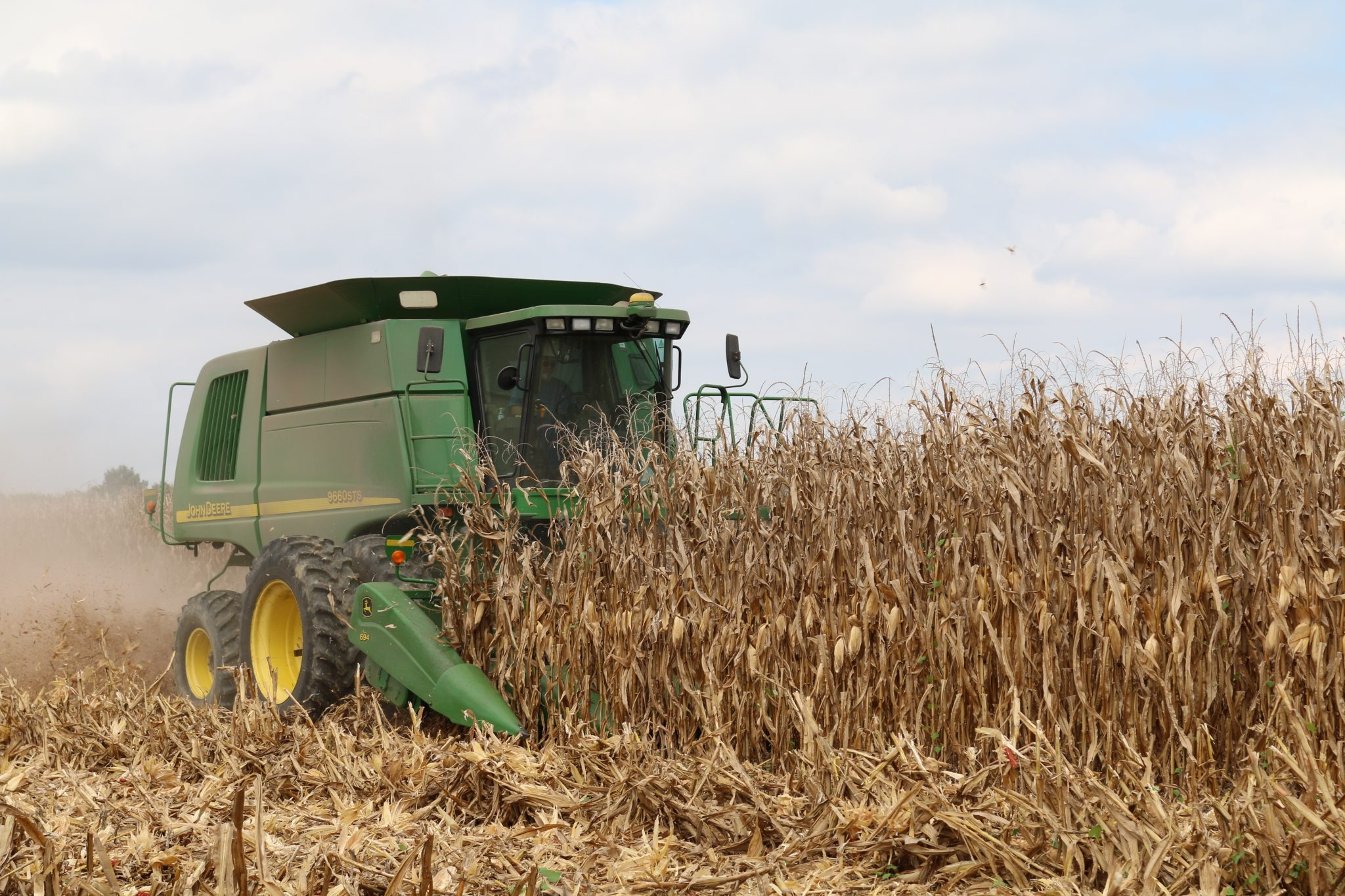 Practice harvest safety while combining corn.