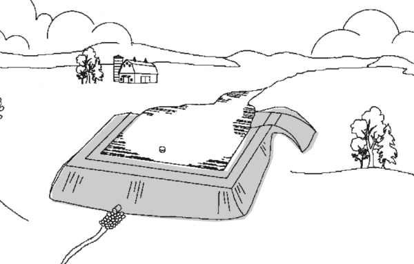 Figure 5. Combination watershed-levee pond (not to scale).