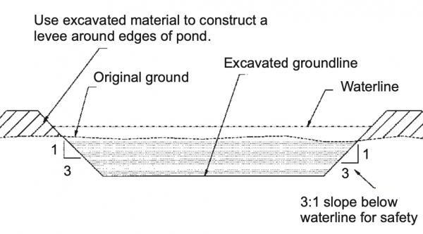 Figure 4. Typical section of a levee pond (not to scale).