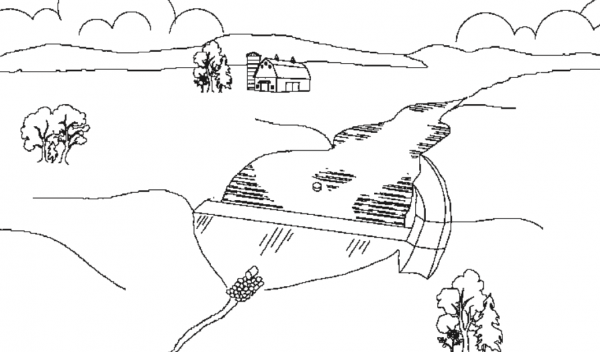 Figure 2. Embankment pond (not to scale).