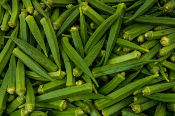 Close-up of a large pile of okra
