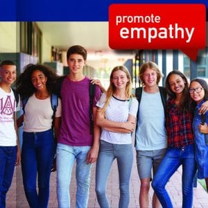 A group of High schoolers stand in teh hall. Promote Empathy in a though bubble above their heads