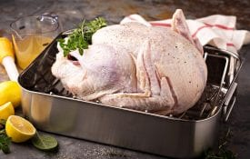 Raw turkey in roasting pan