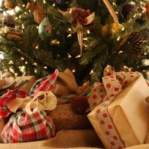 Christmas presents under a Christmas tree.