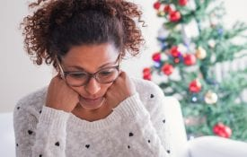 Stressed woman during the holidays.
