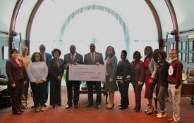 BNC members with President Hugine and Dr. Allen Malone