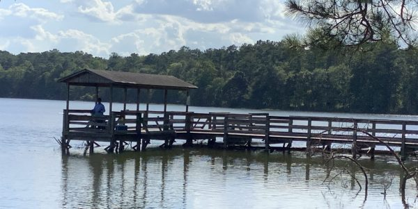 Figure 29. A shaded area on a fishing pier provides relief from the summer sun.